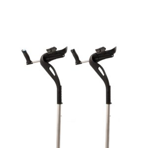 Each M+D Crutch specifically fits the right or left hand. Each grip is color-coded, blue for right and black for left